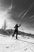 stock photo of nordic skiing  - Woman cross country skiing - JPG