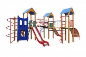 stock photo of playground  - Colorful playground for children isolated on white background - JPG
