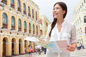 stock photo of senators  - Tourist holding travel map in Macau - JPG
