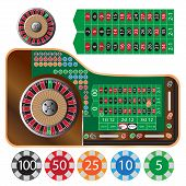 pic of roulette table  - vector illustration of american roulette table and tokens - JPG