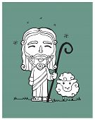 stock photo of shepherds  - Hand drawn vector illustration or drawing of Jesus Good Shepherd with a sheep - JPG