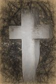 stock photo of headstones  - Charcoal drawing of a cement cross headstone - JPG