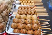 image of meatball  - grilled meatballs in the market for snack - JPG