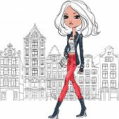 picture of down jacket  - Fashionable hipster girl tourist in a leather jacket - JPG