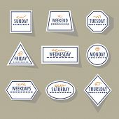 stock photo of khakis  - Long shadow white weekdays stickers set in different shapes on khaki background - JPG