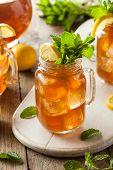 image of iced-tea  - Homemade Iced Tea and Lemonade with Mint - JPG