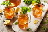 foto of mint-green  - Homemade Iced Tea and Lemonade with Mint - JPG