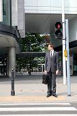 foto of zebra crossing  - young caucasian businessman in park standing on red light on zebra - JPG