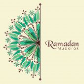 picture of ramazan mubarak card  - Elegant greeting or invitation card decorated with floral design for Muslim community festival - JPG