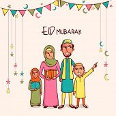 image of ramazan mubarak card  - Illustration of happy islamic family in traditional dress celebrating and enjoying on occasion of muslim community festival - JPG