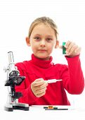 stock photo of conduction  - little girl is conducting research on a white background isolated - JPG