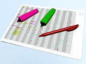 stock photo of marker pen  - top view of pink and green pen markers with a red ballpoint pen - JPG