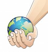 picture of save earth  - Hand holding the earth globe on white background - JPG