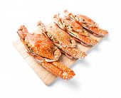 stock photo of cooked blue crab  - Steamed flower crab served on wooden chopping board - JPG
