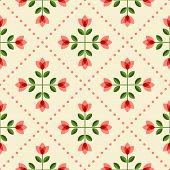 stock photo of scandinavian  - Floral pattern with abstract scandinavian flowers  - JPG