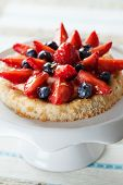 stock photo of custard  - Delicious homemade tartlete with custard and berries