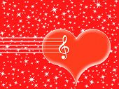 image of clefs  - Treble clef and symbol of the heart - JPG