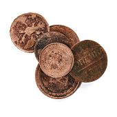 image of copper coins  - Old coins isolated on the white background - JPG