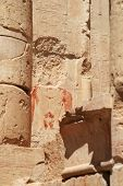 foto of stolen  - Ancient Egypt painting on the wall with face part stolen