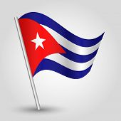 picture of communist symbol  - vector waving simple triangle cuban flag on pole  - JPG