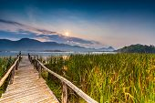 picture of bamboo  - Bamboo bridge near reservoir with mountain and sky view in Kanchanaburi Thailand - JPG