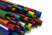 stock photo of pilaster  - Colorful Pilastic Pipes  - JPG