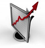 foto of business success  - tft monitor simbolising extreme business success  - JPG