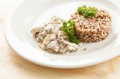 picture of porridge  - Buckwheat porridge with meat - JPG
