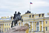 pic of emperor  - Monument of Russian emperor Peter the Great known as Statue of The Bronze Horseman Saint Petersburg Russia - JPG
