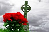 stock photo of celtic  - a bunch of plastic roses in front of a celtic cross grave - JPG