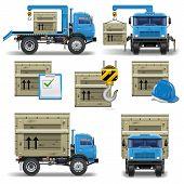 stock photo of crane hook  - Vector shipment icons set 7 - JPG