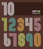 stock photo of number 7  - Retro stripes funky numbers settrendy elegant retro style design - JPG