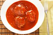stock photo of meatball  - Meatballs with tomato sauce shot from above - JPG