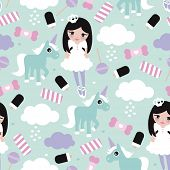 pic of lollipop  - Seamless princess lollipop candy clouds and unicorn fantasy illustration pattern for girls background pattern in vector - JPG