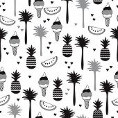 picture of melon  - Seamless modern black and white trendy summer background pattern with pineapple palm trees water melon and ice cream illustration in vector - JPG
