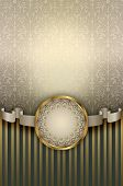image of decorative  - Decorative background with floral patterns and decorative frame with ribbon for the design - JPG