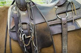 picture of western saddle  - detail of a horse saddle - JPG