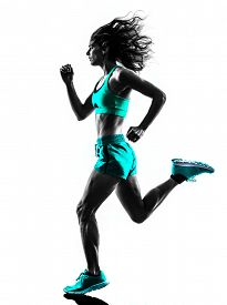 stock photo of jogger  - one caucasian woman runner running jogger jogging  in studio silhouette isolated on white background - JPG
