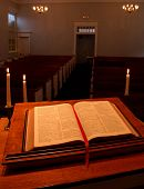 stock photo of mennonite  - the view from the pulpit in a small mennonite church in perkasie pennsylvania - JPG