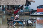 picture of sidecar  - Motorbike with primitive sidecar parked in the water during the October 2010 flooding of Nakhon Ratchasima in Thailand - JPG
