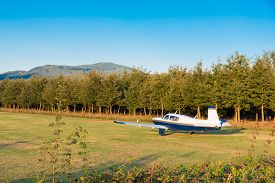 stock photo of ultralight  - The plane ready to take off on the runway of grass - JPG