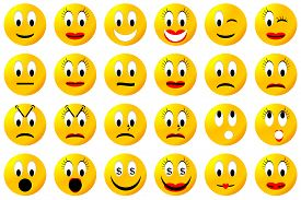 stock photo of angry smiley  - Yellow male and female smiley set or collection isolated in white background - JPG