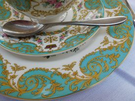 stock photo of kensington  - Fine china used for afternoon tea at Kensington palace in London - JPG