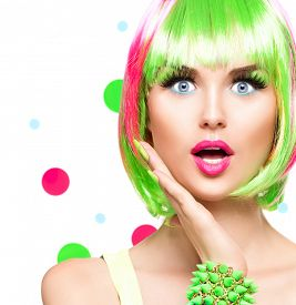 picture of hair dye  - Surprised Beauty Fashion Model Girl with Colorful Dyed Hair - JPG