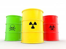 pic of hazardous  - 3d render of barrels with radiations bio hazard and toxic material symbols - JPG