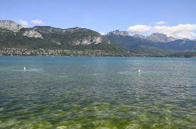 pic of annecy  - Overview of Lake of Annecy and Forclaz mountain in france - JPG