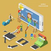 Mobile photo editor flat isometric vector concept. poster