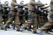 stock photo of army cadets  - romanian soldiers marching in an army parade - JPG