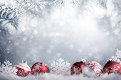 Christmas balls in winter setting,Winter holidays concept. poster