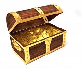 stock photo of treasure chest  - Wooden treasure chest with gold coins printed with royal crown  - JPG